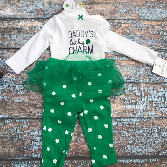 NWT-Boys Carters St Patricks Day Luckiest Baby Coverall Pajamas-sz NB /& 3 mths